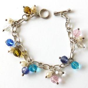 925 Sterling Silver Glass Crystal Charm Bracelet